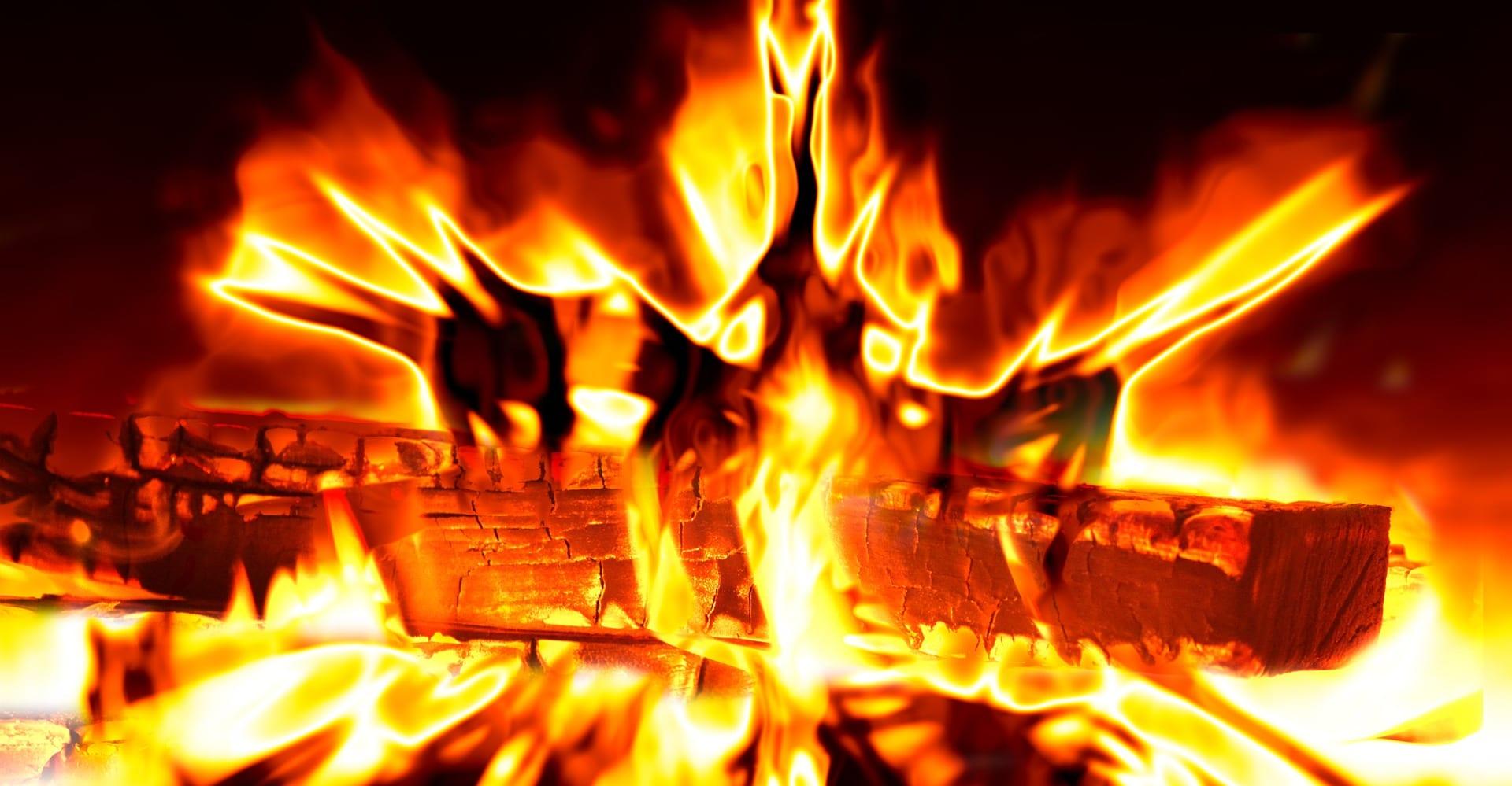 A log fire burning
