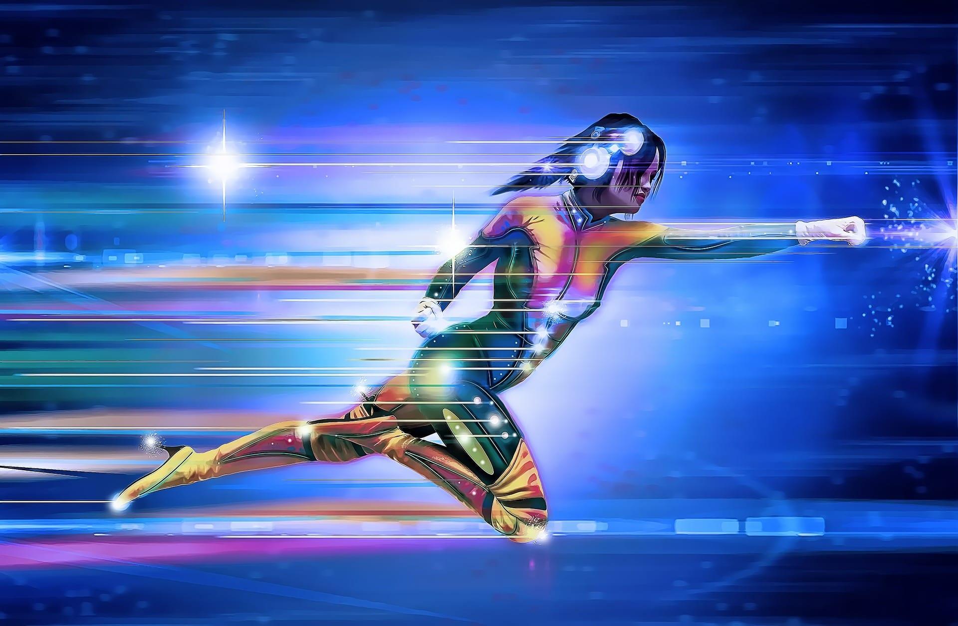 Superhero woman surging through the sky