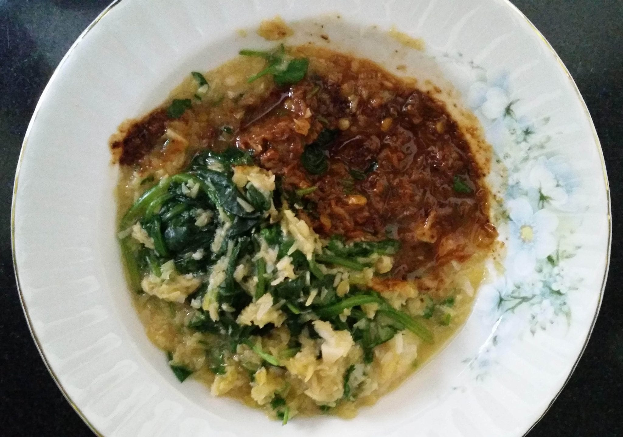 dish of rice, greens and lentils