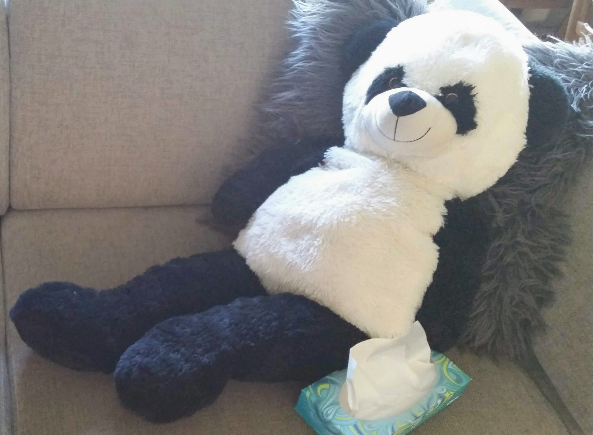Big cuddley toy panda on couch