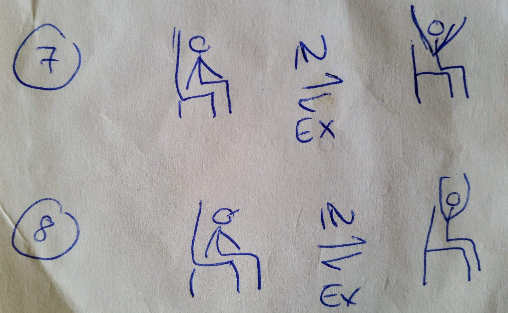Stick person sketches showing 2 yoga seated exercises